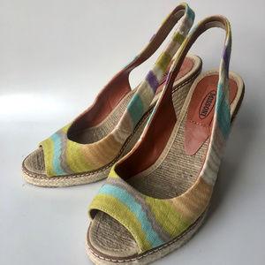 Missoni slingback espadrille wedge sandal pastels